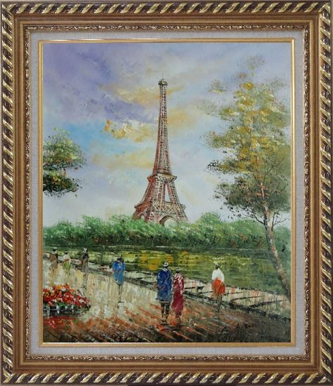 Framed Romantic Walk Along Bank of the Seine Near Eiffel Tower Oil Painting Cityscape France Impressionism Exquisite Gold Wood Frame 30 x 26 Inches