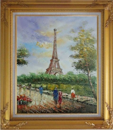 Framed Romantic Walk Along Bank of the Seine Near Eiffel Tower Oil Painting Cityscape France Impressionism Gold Wood Frame with Deco Corners 31 x 27 Inches