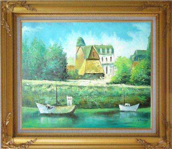 Framed Serene Riverside Boats and Houses Oil Painting Impressionism Gold Wood Frame with Deco Corners 27 x 31 Inches