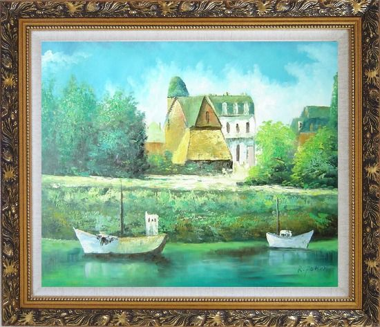 Framed Serene Riverside Boats and Houses Oil Painting Impressionism Ornate Antique Dark Gold Wood Frame 26 x 30 Inches