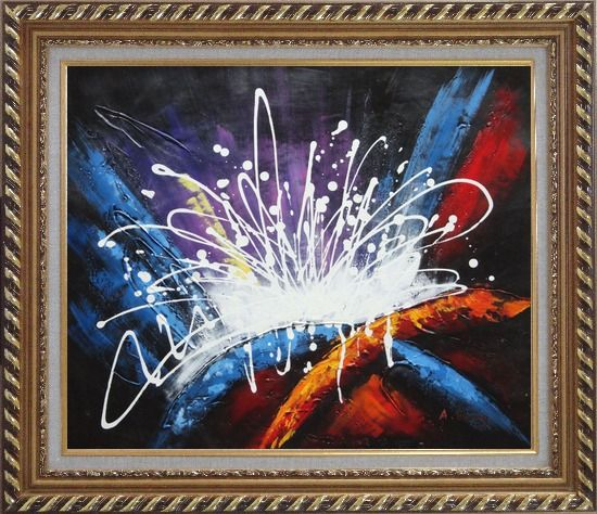 Framed Modern Splendid Fireworks Oil Painting Nonobjective Decorative Exquisite Gold Wood Frame 26 x 30 Inches