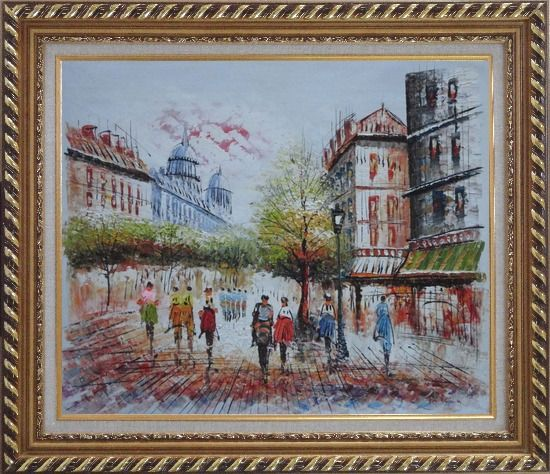 Framed Boulevard Montmartre on a Romantic Evening Oil Painting Cityscape France Impressionism Exquisite Gold Wood Frame 26 x 30 Inches