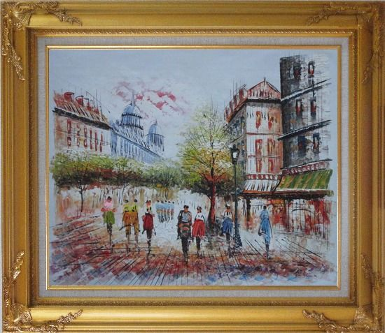 Framed Boulevard Montmartre on a Romantic Evening Oil Painting Cityscape France Impressionism Gold Wood Frame with Deco Corners 27 x 31 Inches