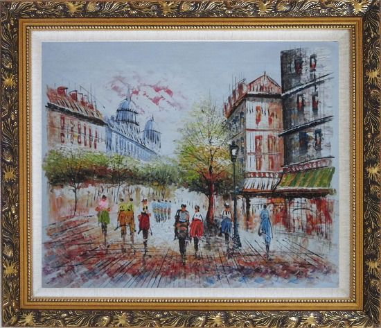 Framed Boulevard Montmartre on a Romantic Evening Oil Painting Cityscape France Impressionism Ornate Antique Dark Gold Wood Frame 26 x 30 Inches
