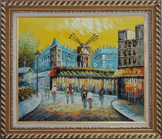 Framed Moulin Rouge At Dusk Oil Painting Cityscape France Impressionism Exquisite Gold Wood Frame 26 x 30 Inches