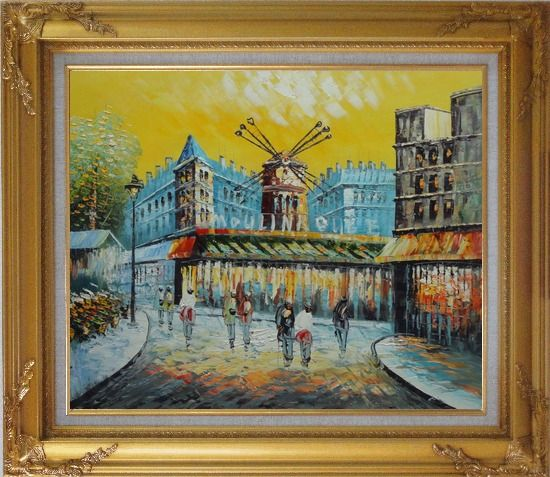 Framed Moulin Rouge At Dusk Oil Painting Cityscape France Impressionism Gold Wood Frame with Deco Corners 27 x 31 Inches