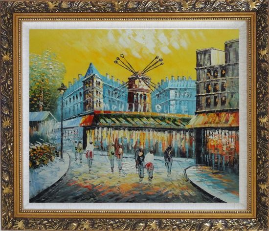 Framed Moulin Rouge At Dusk Oil Painting Cityscape France Impressionism Ornate Antique Dark Gold Wood Frame 26 x 30 Inches