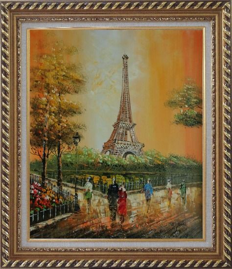 Framed My Wonderful Time At Paris Oil Painting Cityscape France Impressionism Exquisite Gold Wood Frame 30 x 26 Inches
