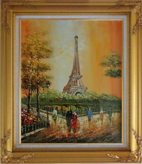 Framed My Wonderful Time At Paris Oil Painting Cityscape France Impressionism Gold Wood Frame with Deco Corners 31 x 27 Inches