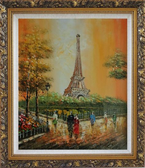 Framed My Wonderful Time At Paris Oil Painting Cityscape France Impressionism Ornate Antique Dark Gold Wood Frame 30 x 26 Inches