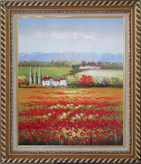Framed Tuscany Poppies Field in Italian Oil Painting Landscape Italy Impressionism Exquisite Gold Wood Frame 30 x 26 Inches
