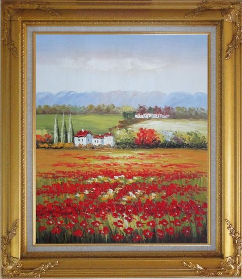Framed Tuscany Poppies Field in Italian Oil Painting Landscape Italy Impressionism Gold Wood Frame with Deco Corners 31 x 27 Inches