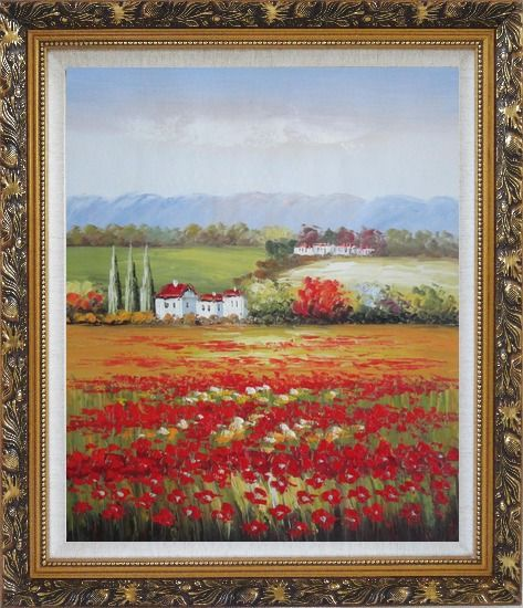 Framed Tuscany Poppies Field in Italian Oil Painting Landscape Italy Impressionism Ornate Antique Dark Gold Wood Frame 30 x 26 Inches