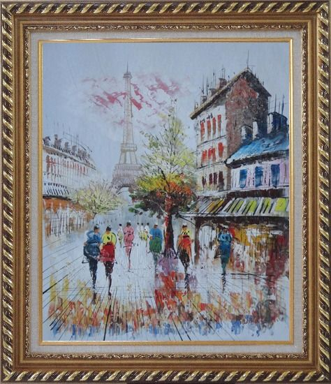 Framed A Moment In Paris with Eiffel Tower Oil Painting Cityscape France Impressionism Exquisite Gold Wood Frame 30 x 26 Inches