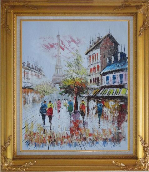 Framed A Moment In Paris with Eiffel Tower Oil Painting Cityscape France Impressionism Gold Wood Frame with Deco Corners 31 x 27 Inches