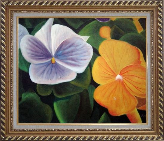 Framed Purple and Yellow Flowers with Morning Dew Oil Painting Naturalism Exquisite Gold Wood Frame 26 x 30 Inches