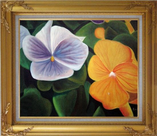 Framed Purple and Yellow Flowers with Morning Dew Oil Painting Naturalism Gold Wood Frame with Deco Corners 27 x 31 Inches
