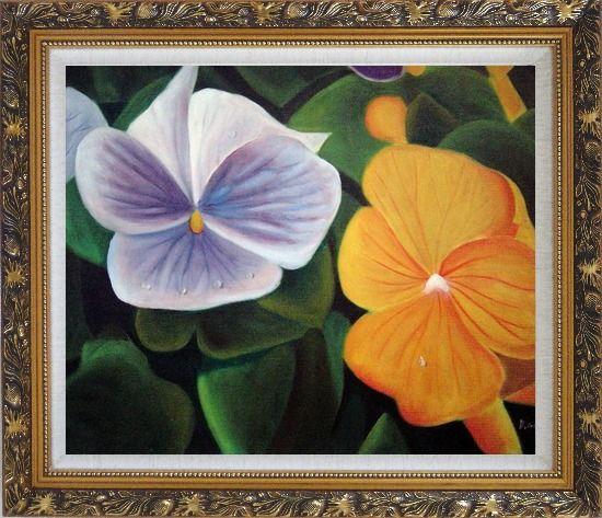 Framed Purple and Yellow Flowers with Morning Dew Oil Painting Naturalism Ornate Antique Dark Gold Wood Frame 26 x 30 Inches