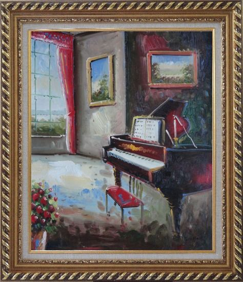 Framed Elegant Living Room with Piano and Wall Painting Oil Cityscape Classic Exquisite Gold Wood Frame 30 x 26 Inches