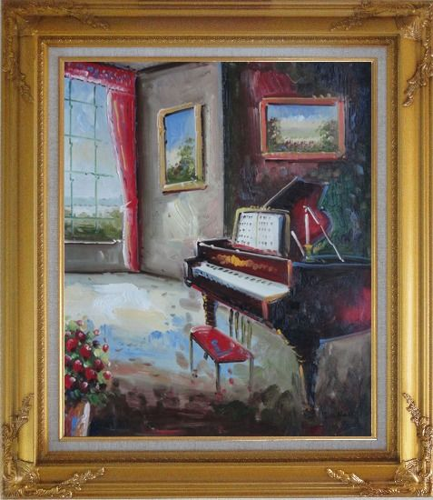 Framed Elegant Living Room with Piano and Wall Painting Oil Cityscape Classic Gold Wood Frame with Deco Corners 31 x 27 Inches