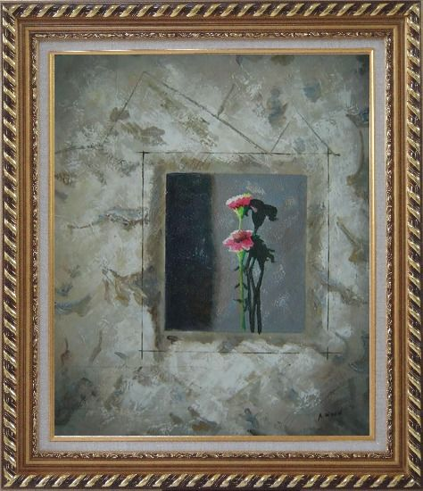 Framed Painting of Pink Flowers Oil Carnation Modern Exquisite Gold Wood Frame 30 x 26 Inches