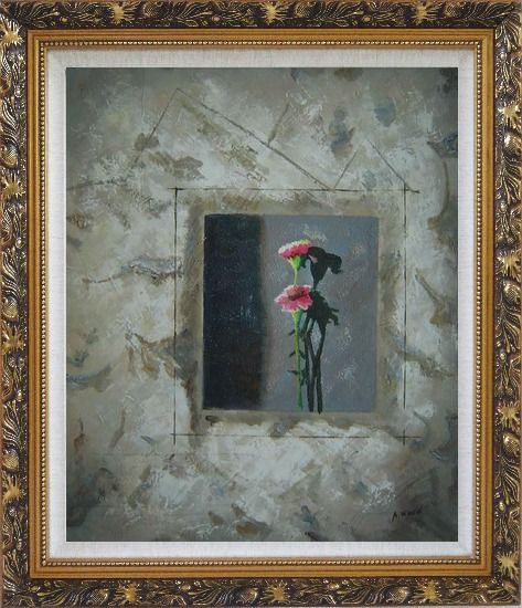 Framed Painting of Pink Flowers Oil Carnation Modern Ornate Antique Dark Gold Wood Frame 30 x 26 Inches
