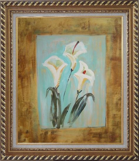 Framed White Lilies Oil Painting Flower Still Life Lily Modern Exquisite Gold Wood Frame 30 x 26 Inches