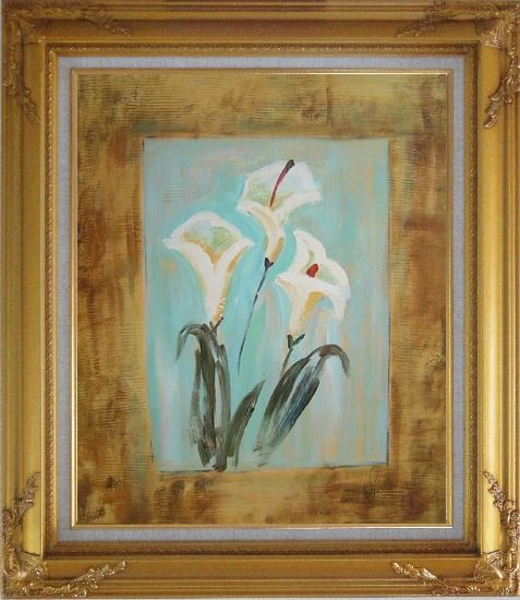 Framed White Lilies Oil Painting Flower Still Life Lily Modern Gold Wood Frame with Deco Corners 31 x 27 Inches