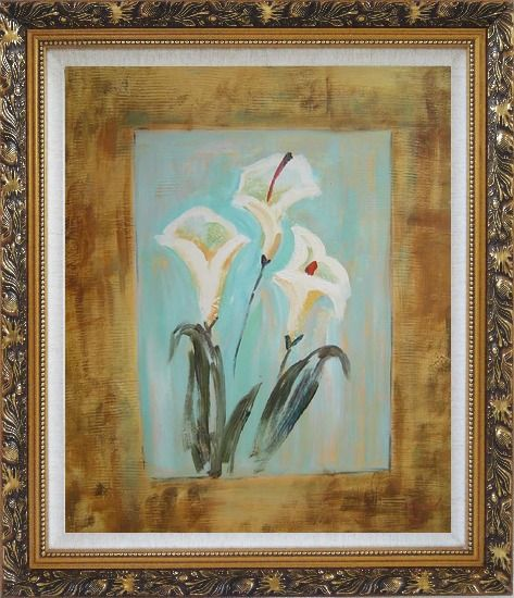 Framed White Lilies Oil Painting Flower Still Life Lily Modern Ornate Antique Dark Gold Wood Frame 30 x 26 Inches