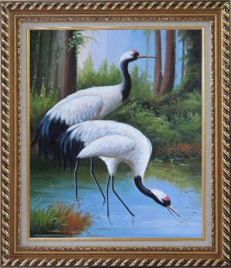 Framed Two Graceful Red Crowned Cranes Play in Water Oil Painting Animal Bird Classic Exquisite Gold Wood Frame 30 x 26 Inches