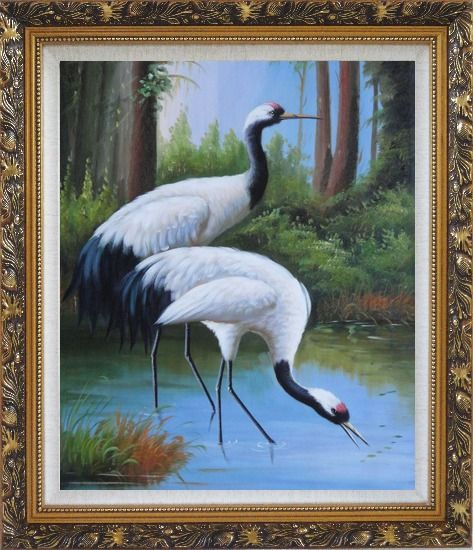 Framed Two Graceful Red Crowned Cranes Play in Water Oil Painting Animal Bird Classic Ornate Antique Dark Gold Wood Frame 30 x 26 Inches
