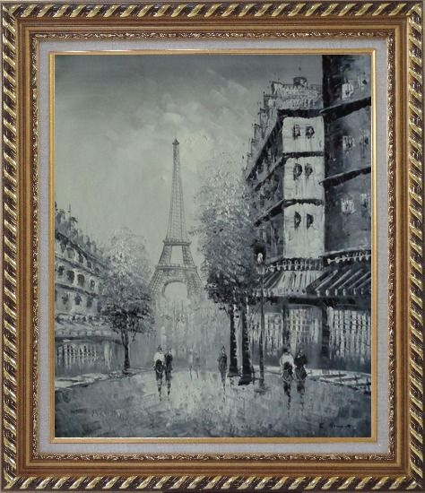 Framed Another Look At Paris, Intoxicated Again Oil Painting Cityscape France Black White Impressionism Exquisite Gold Wood Frame 30 x 26 Inches