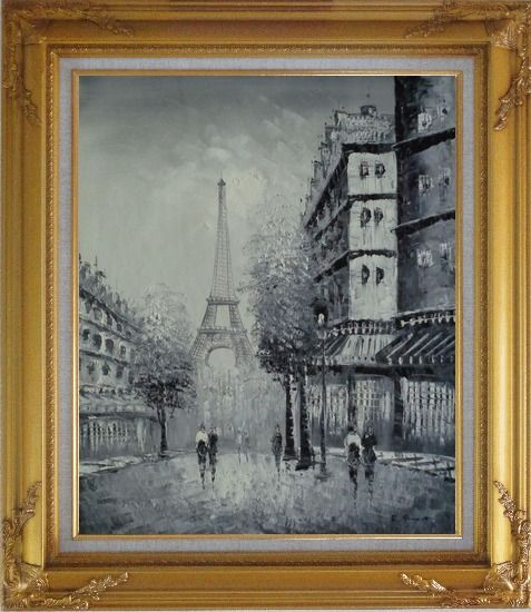 Framed Another Look At Paris, Intoxicated Again Oil Painting Cityscape France Black White Impressionism Gold Wood Frame with Deco Corners 31 x 27 Inches