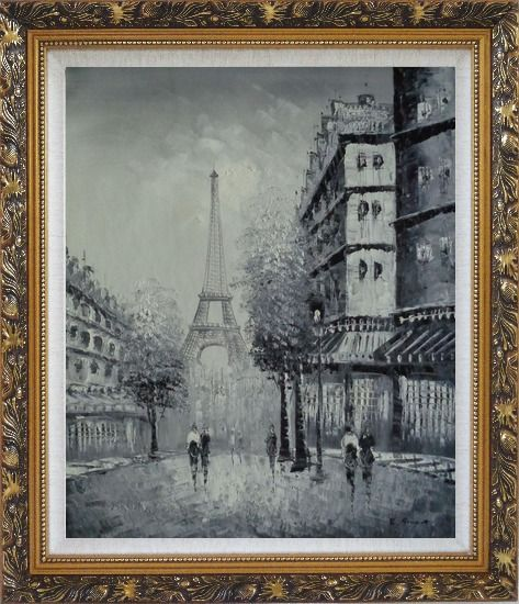 Framed Another Look At Paris, Intoxicated Again Oil Painting Cityscape France Black White Impressionism Ornate Antique Dark Gold Wood Frame 30 x 26 Inches