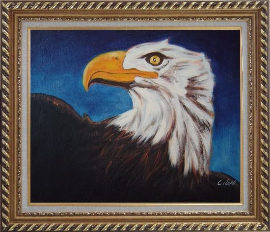 Framed American Bald Eagle Head Oil Painting Animal Modern Exquisite Gold Wood Frame 26 x 30 Inches
