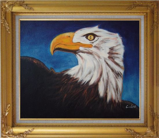 Framed American Bald Eagle Head Oil Painting Animal Modern Gold Wood Frame with Deco Corners 27 x 31 Inches