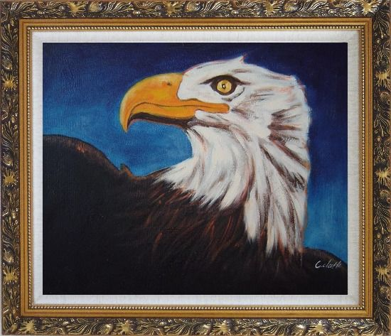 Framed American Bald Eagle Head Oil Painting Animal Modern Ornate Antique Dark Gold Wood Frame 26 x 30 Inches