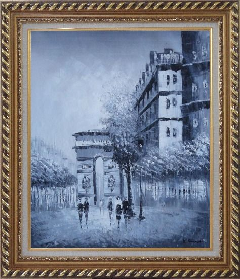 Framed People Walking On Street With View of Arc de Triomphe Oil Painting Cityscape France Black White Impressionism Exquisite Gold Wood Frame 30 x 26 Inches