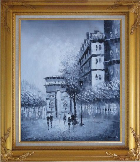 Framed People Walking On Street With View of Arc de Triomphe Oil Painting Cityscape France Black White Impressionism Gold Wood Frame with Deco Corners 31 x 27 Inches