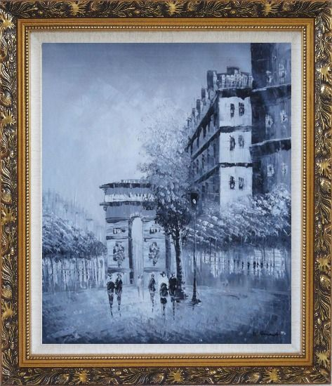 Framed People Walking On Street With View of Arc de Triomphe Oil Painting Cityscape France Black White Impressionism Ornate Antique Dark Gold Wood Frame 30 x 26 Inches