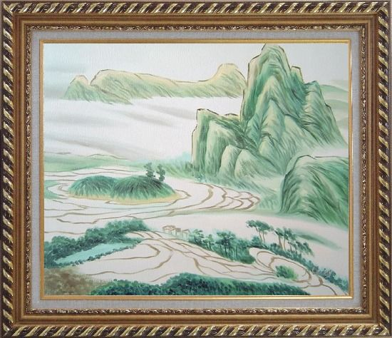 Framed Oriental Mountain and Farm Fields Oil Painting Landscape Asian Exquisite Gold Wood Frame 26 x 30 Inches
