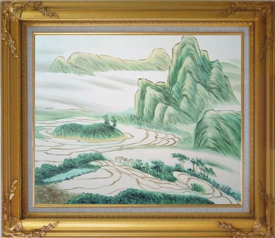 Framed Oriental Mountain and Farm Fields Oil Painting Landscape Asian Gold Wood Frame with Deco Corners 27 x 31 Inches