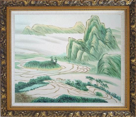 Framed Oriental Mountain and Farm Fields Oil Painting Landscape Asian Ornate Antique Dark Gold Wood Frame 26 x 30 Inches