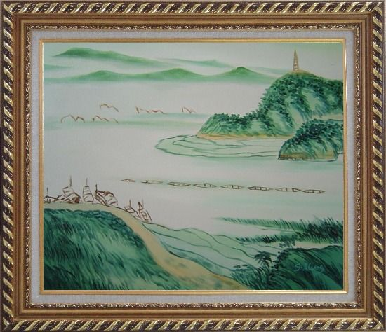 Framed Mountain, River and Fishing Boats Oil Painting Landscape Asian Exquisite Gold Wood Frame 26 x 30 Inches