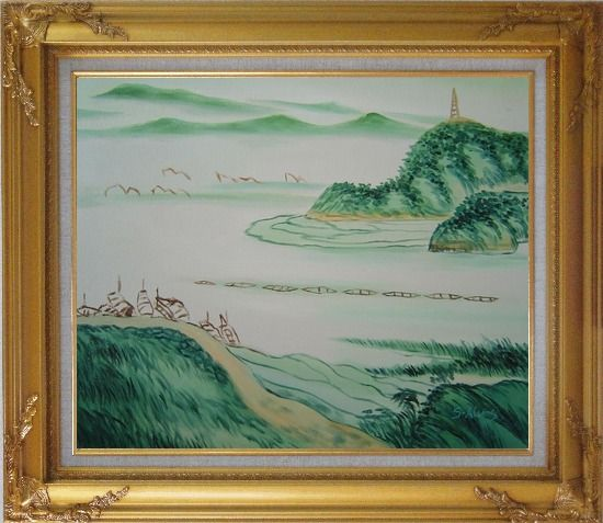 Framed Mountain, River and Fishing Boats Oil Painting Landscape Asian Gold Wood Frame with Deco Corners 27 x 31 Inches