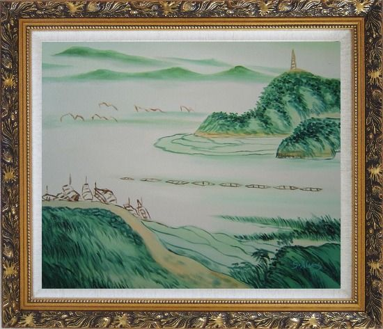 Framed Mountain, River and Fishing Boats Oil Painting Landscape Asian Ornate Antique Dark Gold Wood Frame 26 x 30 Inches