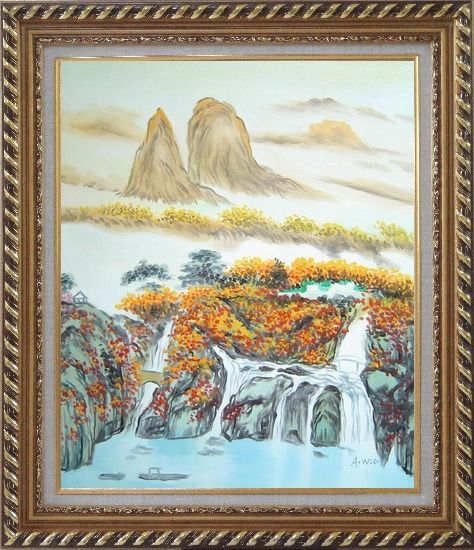 Framed Mountain, Waterfall, Bridge, Hut and Lake Oil Painting Landscape Asian Exquisite Gold Wood Frame 30 x 26 Inches