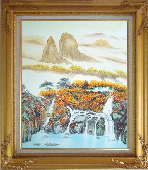 Framed Mountain, Waterfall, Bridge, Hut and Lake Oil Painting Landscape Asian Gold Wood Frame with Deco Corners 31 x 27 Inches
