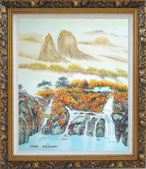 Framed Mountain, Waterfall, Bridge, Hut and Lake Oil Painting Landscape Asian Ornate Antique Dark Gold Wood Frame 30 x 26 Inches