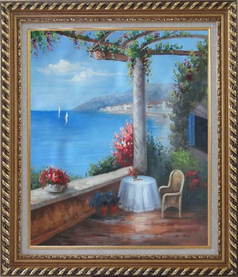Framed Mediterranean Flower Patio, Table, Chair, Seaview Oil Painting Naturalism Exquisite Gold Wood Frame 30 x 26 Inches